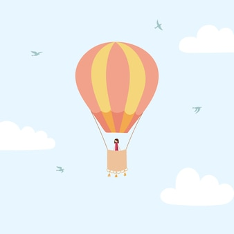 Ilustração em vetor de balão de ar quente de contorno no céu. ícone de mão desenhada isolado