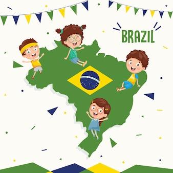 Ilustração em vetor de bandeira do brasil e crianças