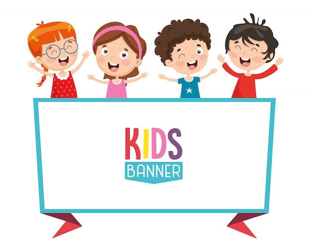 Ilustração em vetor de banner de crianças