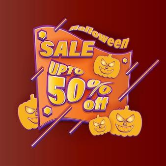Ilustração em vetor de banner de venda de feliz dia das bruxas