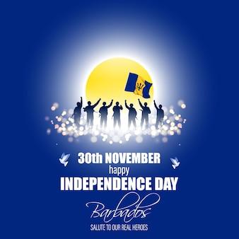 Ilustração em vetor de banner patriótico do feliz dia da independência de barbados