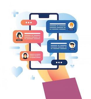 Ilustração em vetor de bate-papo em grupo usando aplicativos de mensagens durante pandemia