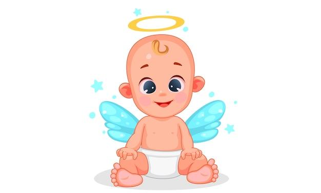 Ilustração em vetor de bebê anjo fofo com belas expressões