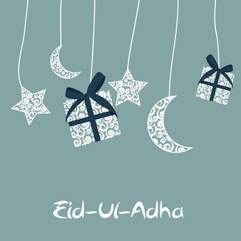 Ilustração em vetor de belo design de cartão de felicitações 'eid adha