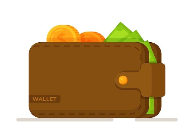 Ilustração em vetor de bitcoin em uma carteira. carteira marrom com papel-moeda verde