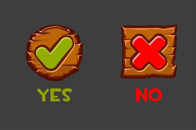 Ilustração em vetor de botões de madeira sim e não.