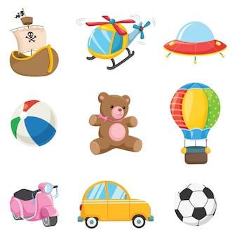 Ilustração em vetor de brinquedos de crianças