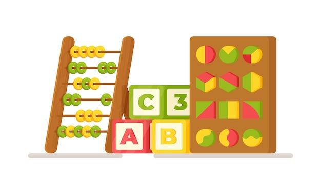 Ilustração em vetor de brinquedos pré-escolares. conceito com brinquedos educativos para crianças. contas, cubos, quebra-cabeças, figuras
