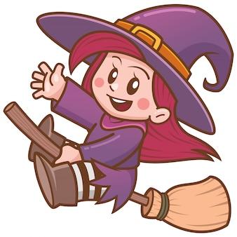 Ilustração em vetor de bruxa cartoon voando na vassoura