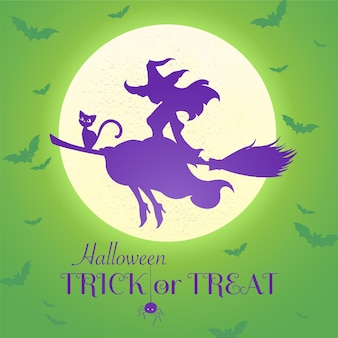 Ilustração em vetor de bruxa voando em uma vassoura com um gato preto em um fundo verde de lua cheia