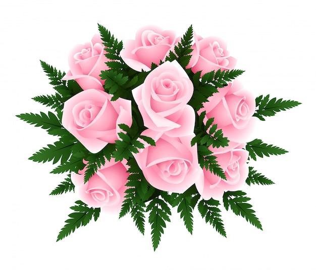 Ilustração em vetor de buquê de rosas com folhas de samambaia, isolado no branco.
