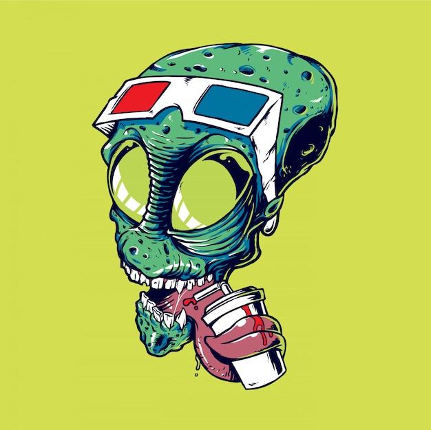 Ilustração em vetor de cabeça alienígena