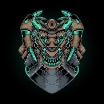 Ilustração em vetor de cabeça de dragão