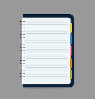 Ilustração em vetor de caderno em branco