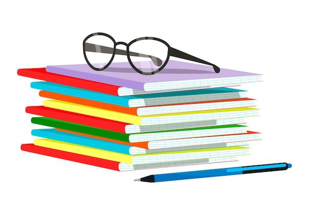 Ilustração em vetor de cadernos escolares, óculos de caneta e professor isolados