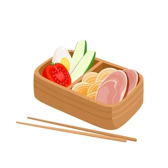 Ilustração em vetor de caixa de bento japonesa comida asiática tradicional com macarrão, presunto e pepino, ovo