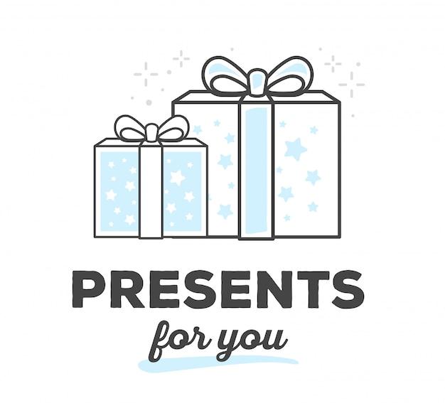 Ilustração em vetor de caixa de presente criativa com arco com texto em fundo branco. Vetor Premium