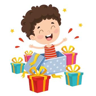 Ilustração em vetor de caixa de presente de criança