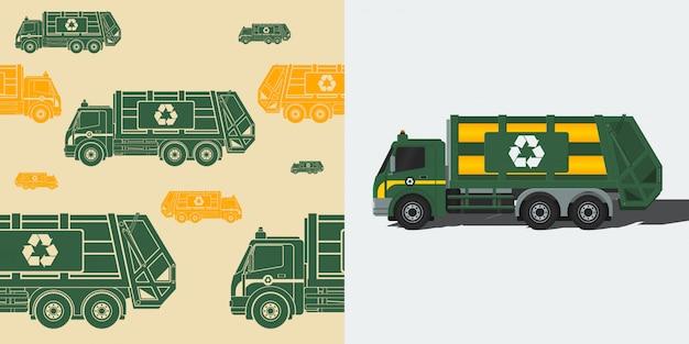 Ilustração em vetor de caminhão de lixo editável