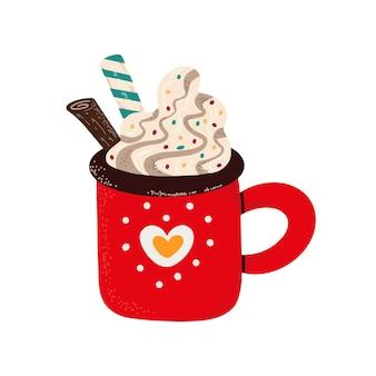 Ilustração em vetor de caneca vermelha com delicioso chocolate quente com creme chantilly servido com stic de canela.
