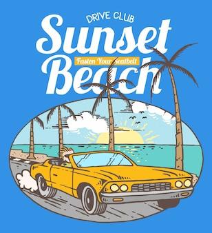 Ilustração em vetor de carro dirigindo na praia tropical