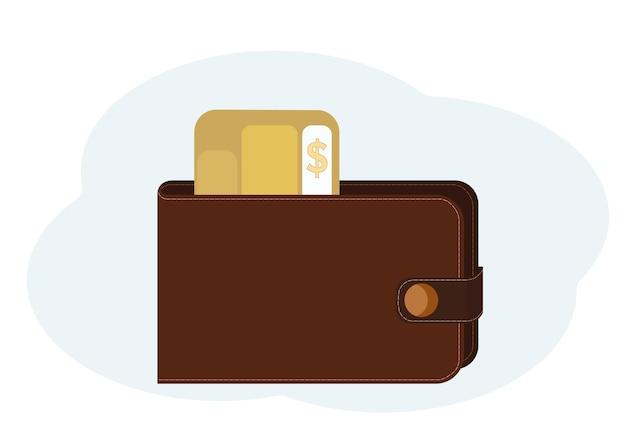 Ilustração em vetor de carteira com cartões de plástico com símbolos de dólar