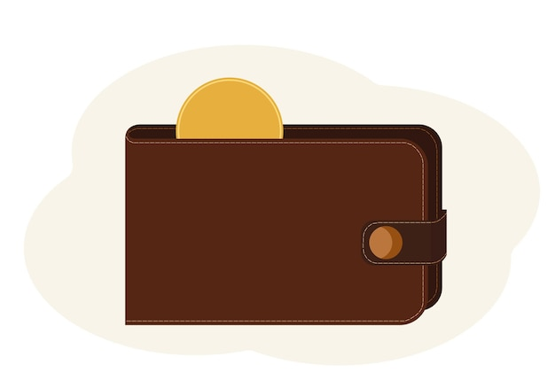 Ilustração em vetor de carteira com uma moeda de ouro