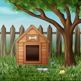 Ilustração em vetor de casinha de cachorro em ambiente com árvore, cerca, brinquedos e tigela