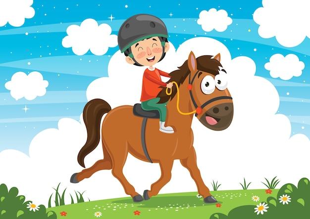 Ilustração em vetor de cavalo de equitação de criança