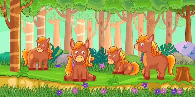 Ilustração em vetor de cavalos dos desenhos animados na selva