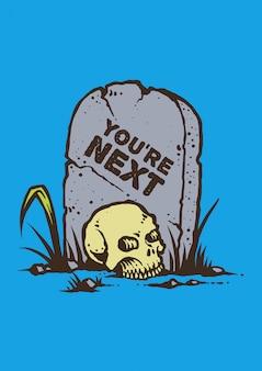 Ilustração em vetor de caveira no cemitério em estilo gráfico retrô