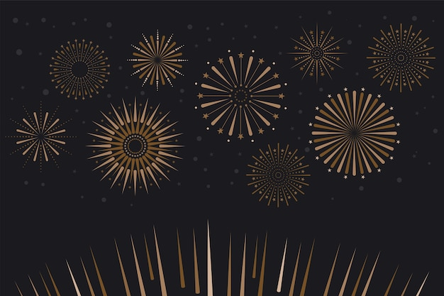 Ilustração em vetor de celebração com fundo de fogos de artifício