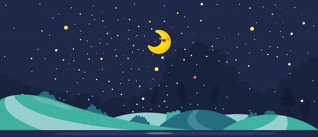 Ilustração em vetor de cena noturna