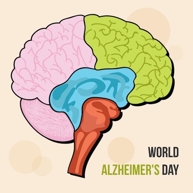 Ilustração em vetor de cérebro do dia mundial de alzheimer