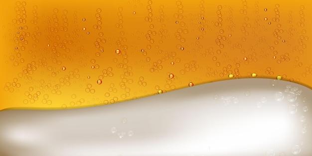 Ilustração em vetor de cerveja clara ou escura realista com espuma e bolhas.