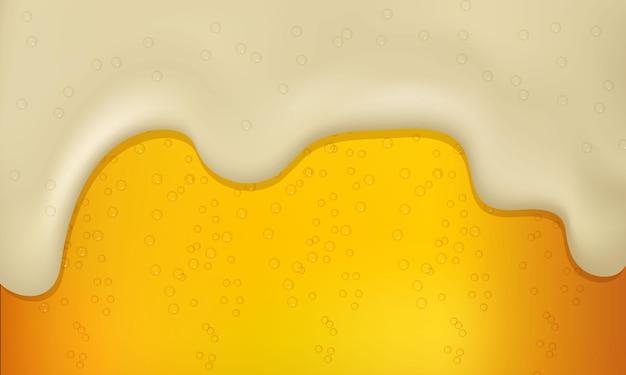 Ilustração em vetor de cerveja clara ou escura realista com espuma e bolhas. Vetor Premium