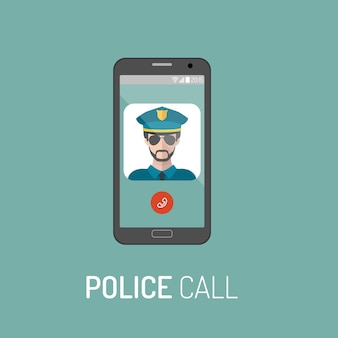 Ilustração em vetor de chamada de emergência da polícia com o ícone do policial no telefone móvel em moderno estilo simples.
