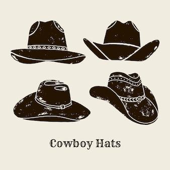 Ilustração em vetor de chapéu de cowboy. silhueta de chapéu em estilo vintage, efeito grunge. elementos do oeste selvagem para a concepção de cartazes, letras, t-shirts de impressão. rótulo dos eua ocidental sobre o oeste selvagem.