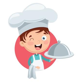 Ilustração em vetor de chef kid cooking