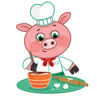 Ilustração em vetor de chef porco