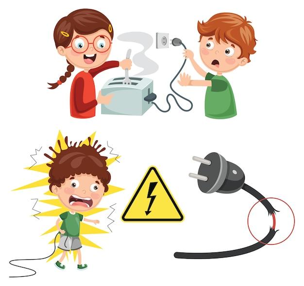 Ilustração em vetor de choque elétrico de crianças