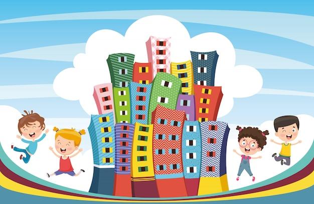 Ilustração em vetor de cidade abstrata e crianças