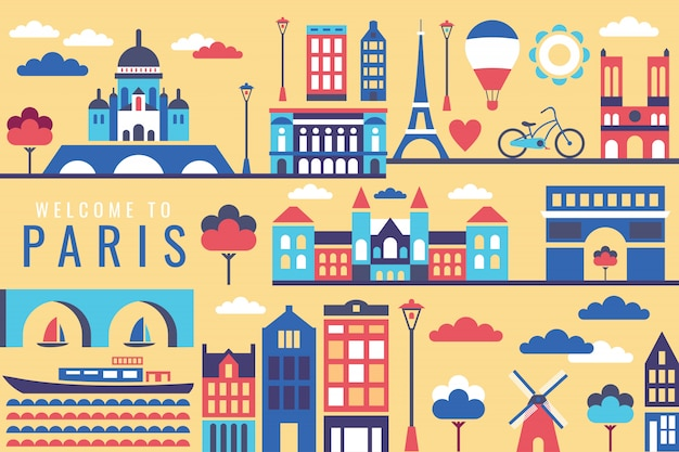 Ilustração em vetor de cidade em paris