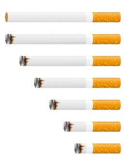 Ilustração em vetor de cigarro ardente
