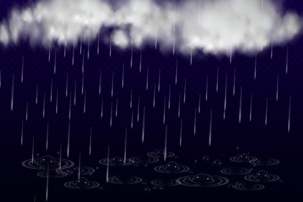 Ilustração em vetor de clima único fresco com nuvens e chuva pesada.