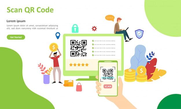Ilustração em vetor de código qr digitalização adequada para página de destino da web