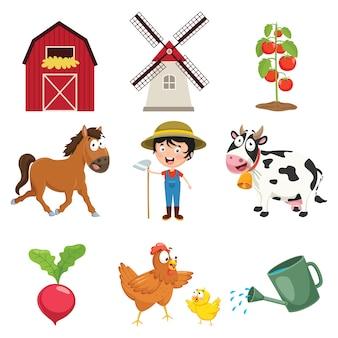 Ilustração em vetor de coisas de fazenda