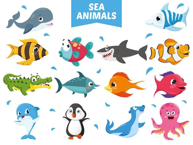 Ilustração em vetor de coleção de animais dos desenhos animados