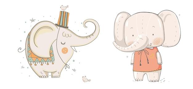 Ilustração em vetor de coleção de elefantes de boho para design de cadernos de planejadores e muito mais