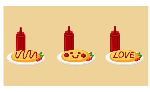 Ilustração em vetor de comida japonesa, arroz japonês e omelete com molho de tomate.
